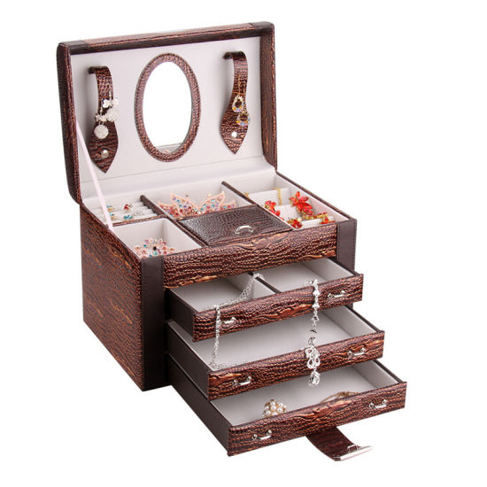 OEM Antique Handmade PU Leather Jewelry Box with Compartments pictures & photos