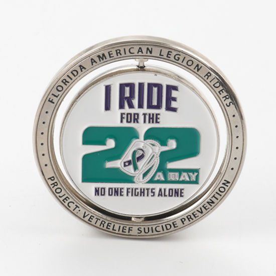 High Quality Printing Silver Custom Soft Enamel Spinning Metal Challenge Coin