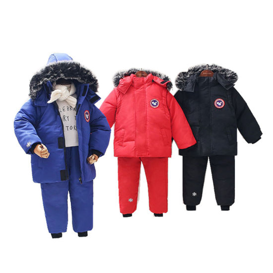 Hotsell Outdoor Canada Jacket Suit Pants Kids Boys Girls Clothing Sets with Fur