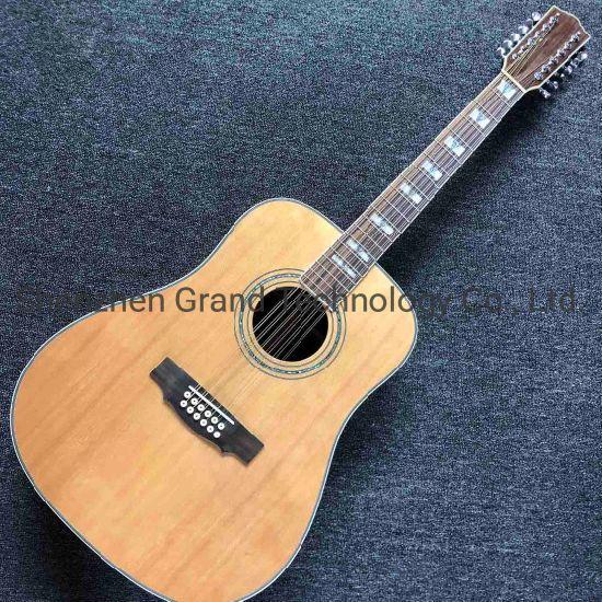 Custom 12 Strings D Body Solid Cedar Top Rosewood Back Side Acoustic Guitar