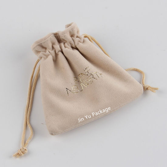 Luxury Suede Cotton Fabric Stitiching Drawstring Jewelry Gift Pouch Bags pictures & photos