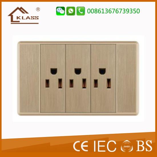 American Standard Universal Triple Receptacle 3 Pole Wall Socket