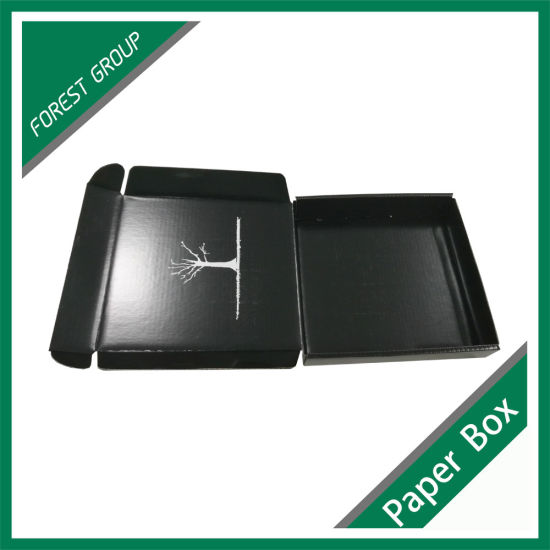 Custom Black Box with White Logo Printing Wholesale pictures & photos