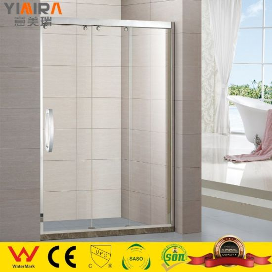 High Quality Stainless Steel Frame Tempered Glass Partitions Three Sliding Shower Door