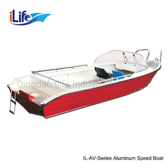 Ilife 2.6m to 7.5m PVC/Hypalon Rigid Hull Firberglass Boat or 4-8 Person 3.8m-5.2m Aluminum Boat for Fishing Motor Boat Speed Boat
