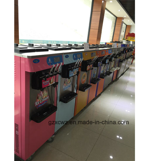 Prince Factory Sale Commercial Stainless Steel Three Flavors Soft Ice Cream Machine with Cone Dispenser pictures & photos
