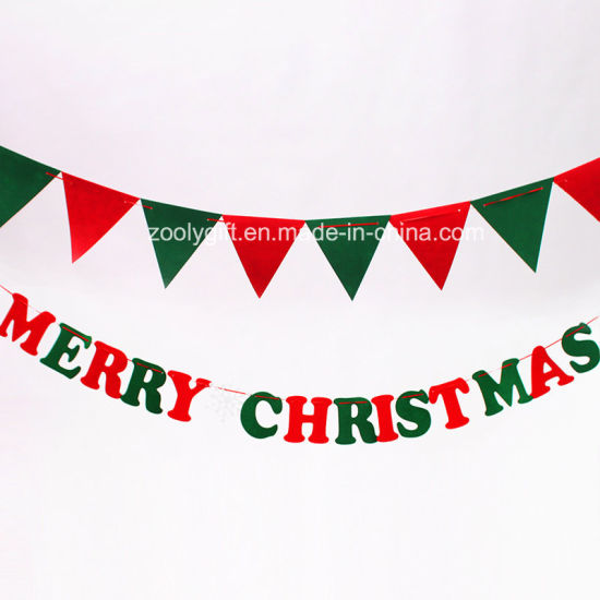 christmas letter hanging felt decorations triangle flag ornament - Christmas Letter Decorations