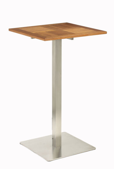 Teak Wood Garden High Table With Stainless Steel Frame