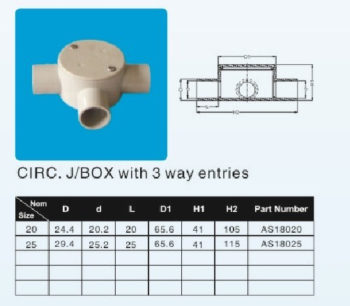 20mm 25mm Junction Box Three 3 Way Shallow J/B pictures & photos