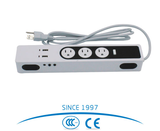 Dual USB Port 3 Outlet American Power Strip, Extension Socket with Bluetooth Audio Play