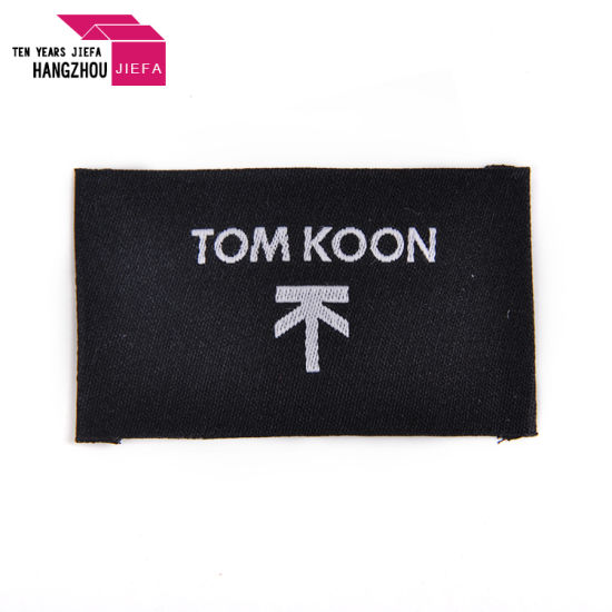 Professional Washable Fancy Brand Name End Fold Damask Woven Labels for Clothing