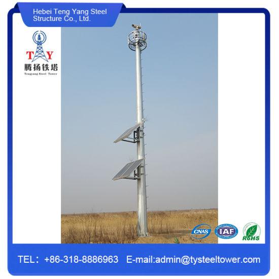 Steel Galvanized Monopole Telecom Radio Tower Antenna Lighting Mast
