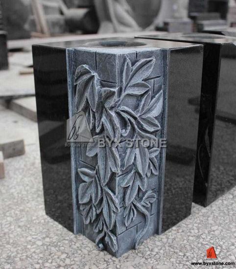 China Granite Flower Carving Monument Vasetombstone Vase For