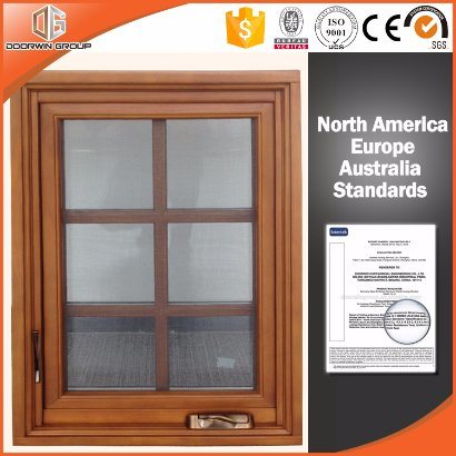 Finished Paintting Tilt Turn Wood Window with Nice Window Grill Design