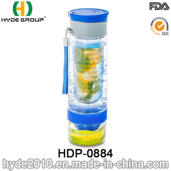 Customized BPA Free Tritan Fruit Infusion Bottle, Portable Plastic Fruit Infuser Water Bottle (HDP