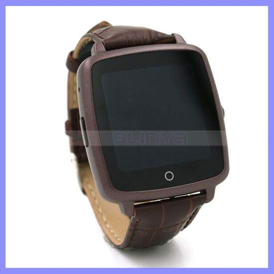 1.54 Inch Camera Bluetooth SIM Smart Watch Phone Mobile Cell Phone with Leather Wrist