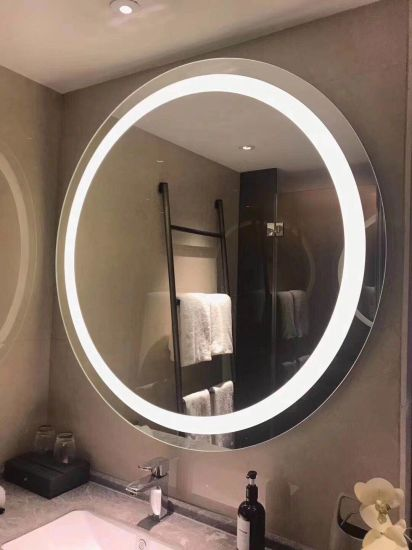 China Elegant Modern Round Illuminated Led Bathroom And Make Up Mirror Touch Sensor Demister China Bathroom Mirror Led Mirror