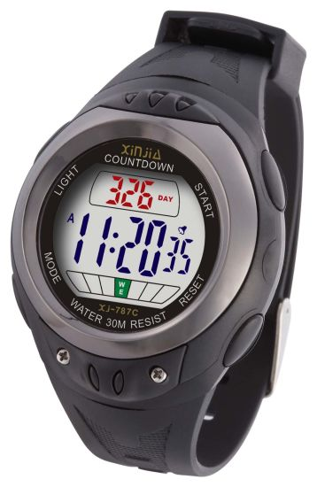 Plastic Case Daily Count-Down Watch (Max 999days count-down) with 30m Water-Resistant