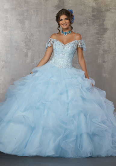 b44b1c6a4a0 Chapampagne Blue Bridal Ball Gown Beaded Embroidery Quinceanera Dress M60034