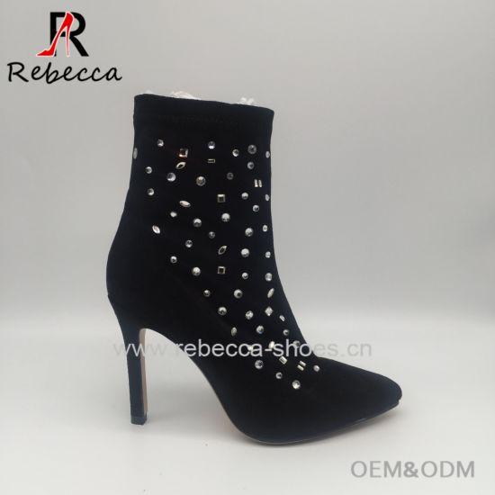 OEM Lady Ankle Boots Velvet with Rhinestone Hademade Stilettos Heel Shoes Wholesale