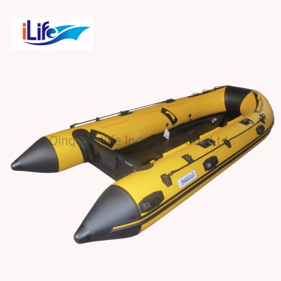 Ilife 2.3m PVC/Hypalon Inflatable Rescue Fishing Rubber Boat with Aluminum/Drop Stitch Air/Plywood Floor for 2 Persons