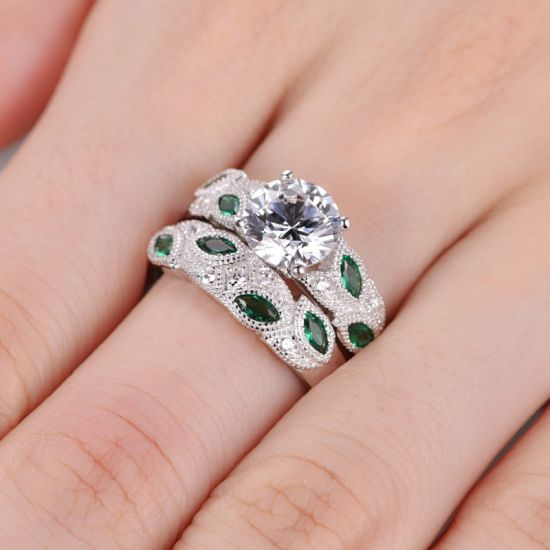 Green Leaf Design Bridal Ring Set - 17 pictures & photos