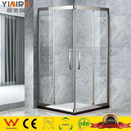8mm Glass Mirrored Stainless Steel Pivot Door Shower Enclosure
