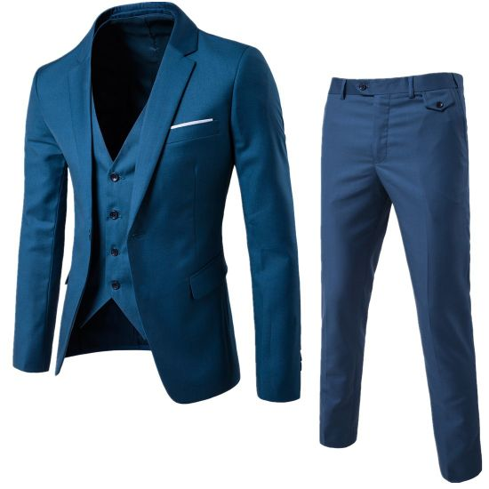 Spring Business Casual Suit Three-Piece Suit for The Groom and Best Man Wedding One-Button Suit