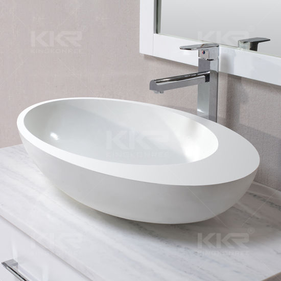 Small Sizes Above Counter Artificial Stone Bathroom Sinks White Matte Countertop Hand Wash Basin China Countertop Basin Washbasin Made In China Com