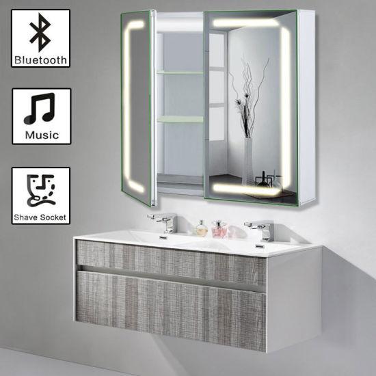 Aluminum Bathroom Led Mirrored Cabinet, Large Glass Bathroom Cabinets