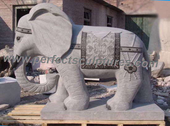 Carving Stone Marble Elephant Animal Sculpture for Garden Statue (SY-B106)