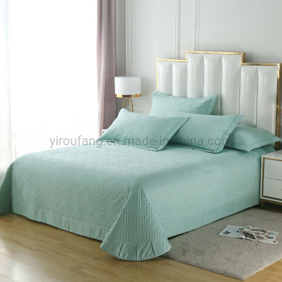 Hotel Bedding Light Cyan Bed Linen, What Is The Length And Width Of A King Size Bedspread