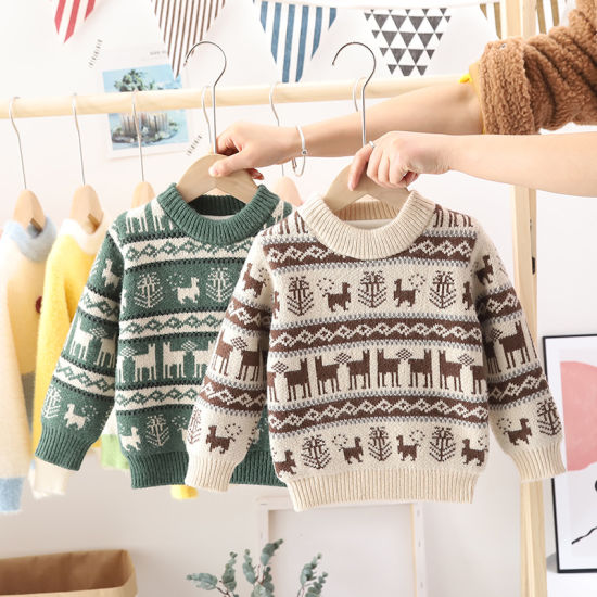 Children's Pullover Winter Boys Thick Striped Christmas Fashion Baby Sweaters