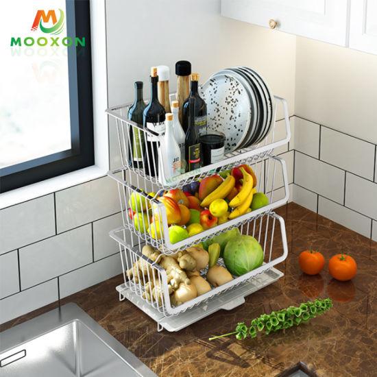 China Home Kitchen 3 Tiers Metal Kitchen Storage Holder Vegetables Fruit Stackable Basket China Stackable Basket And Stackable Storage Basket Price