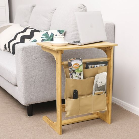 Bamboo Snack Table Sofa Side Table Console Laptop Desk for Coffee Bed with Storage Bag