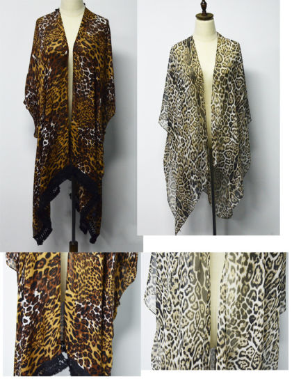 BSCI Multi-Wear Leopard Print Shawl with Cotton Lace