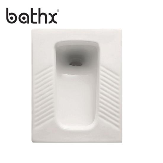 Durable Flush Value White Cheap Ceramic Wc Pan Water Closet Porcelain Squatting Squat Toilet (PL-P303)