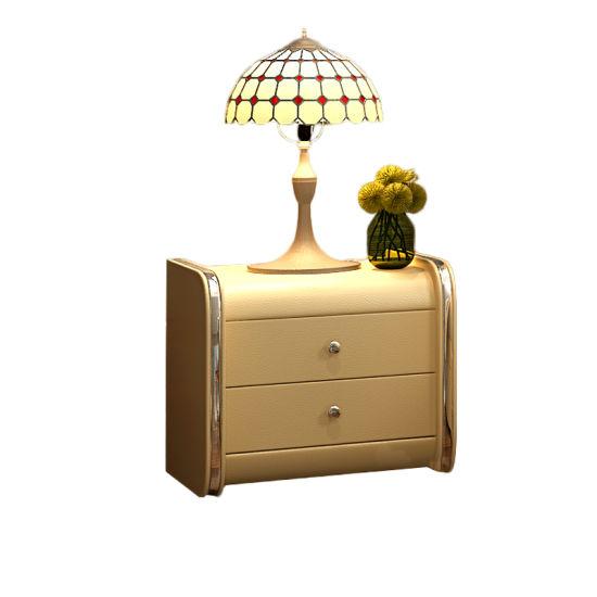 Wholesale Bedroom Furniture Wood Bedside Table 2-Drawers Cabinet Storage Cupboard