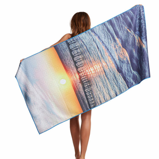 Promotional Wholesale Portable Quality 100% Microfiber Digital Printed Custom Beach Towel
