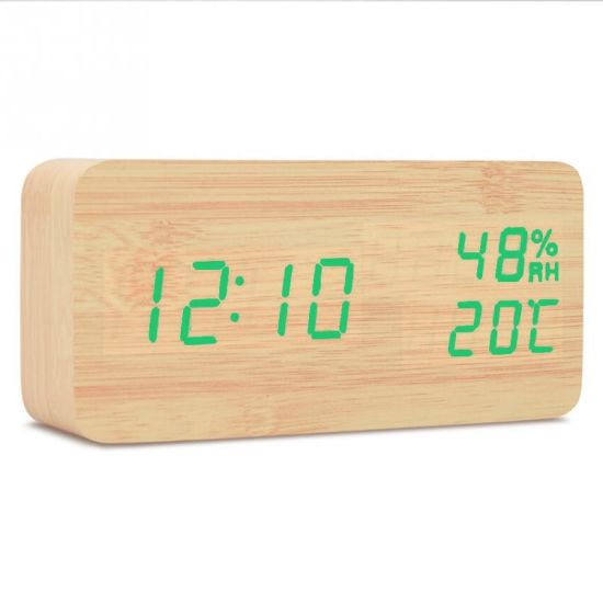 Wooden Electronic Digital Alarm Clock with Hygrometer and Thermometer