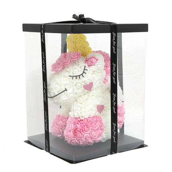 Wholesale Handmade Home Christmas Gift Artificial Flower Rose 35cm Unicorn Toy Decoration Toy