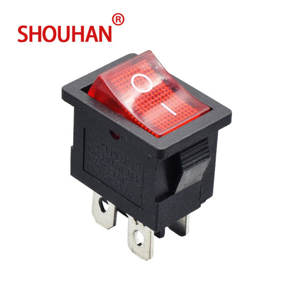 Rocker Switch Kcd117-4p 6A 250V with LED Light 4 Pin Two Position on-off Switch