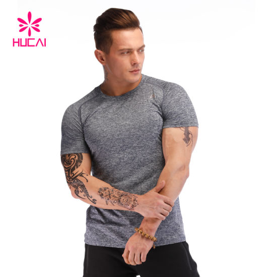 Wholesale Polyester Spandex Fitness Sport Workout Wear Men Muscle Dry Fit Gym T Shirt