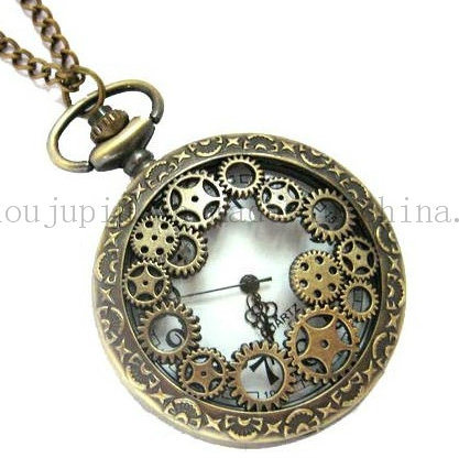 OEM Metal Classical Quartz Pocket Watch with Gears pictures & photos