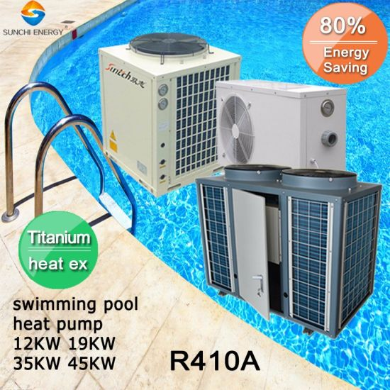 Thermostat 24~239 Cube Meter Water Keep 45deg. C Titanuim 19kw/35kw/70kw105kw R410A Air Source Heat Pump Water Heater SPA Pool