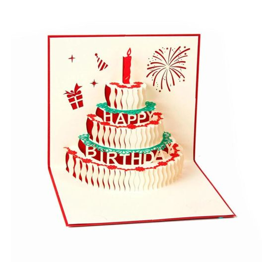 China 3d Pop Up Birthday Cards Creative Birthday Greeting Card Red