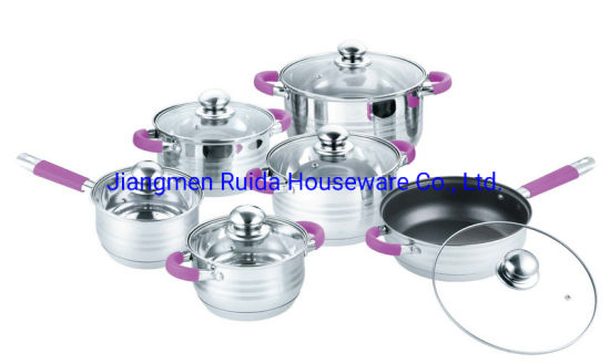 12PCS Stainless Steel Cookware Set with Purple Silicone Handle in Glass Lid