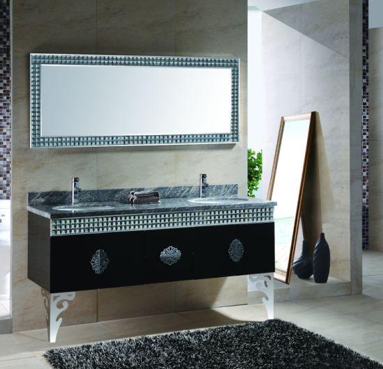 Mosaic 160cm Double Sink Cheap Steel Metal Bathroom Vanity Cabinets