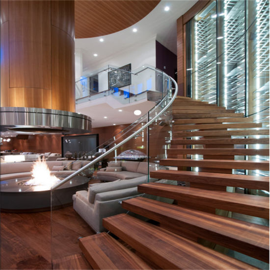 China Customized Indoor Wooden Curved Staircase With