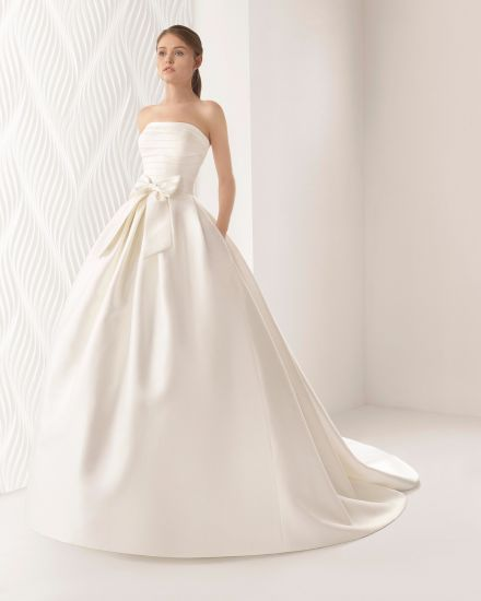 92e674a42544 Strapless Pleat Body with Half Sleeve Lace Bolero Pocket Satin Wedding Dress